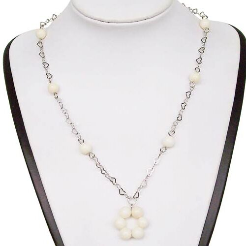 White Genuine 7-8mm Coral Silver Necklace, 925 SS