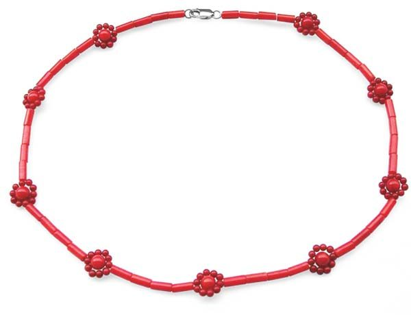 Red 2-3mm, 5-6mm, 2X7mm Genuine Coral Necklace in Little Flower Design, 925 SS