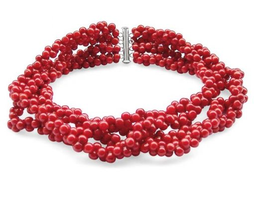 Red 4-Row Genuine Peanut Shaped Coral Necklace, 925 SS
