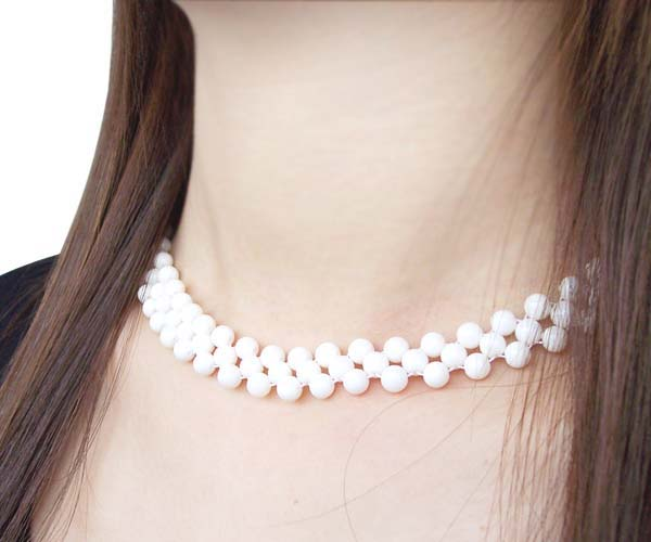 White 3-Row 6-7mm Coral Necklace, 925 SS