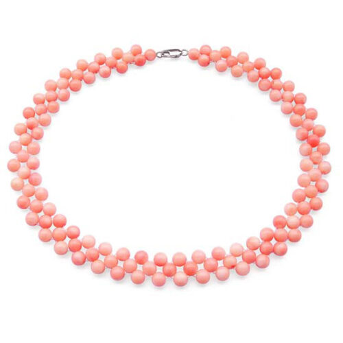 3 Rows of 6-7mm Pink Coral Necklace