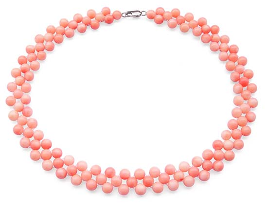 Pink 3-Row 6-7mm Coral Necklace, 925 SS