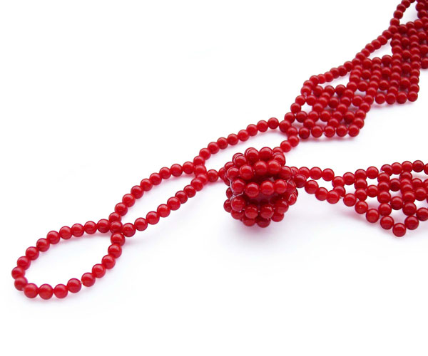 Red 2-3mm Coral Necklace with 10-11mm large Coral beads at center