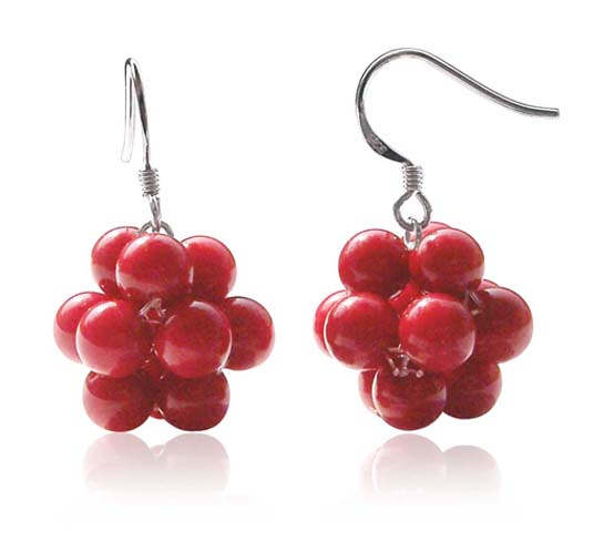 Red 7mm Round Coral Ball Earrings, 925 SS