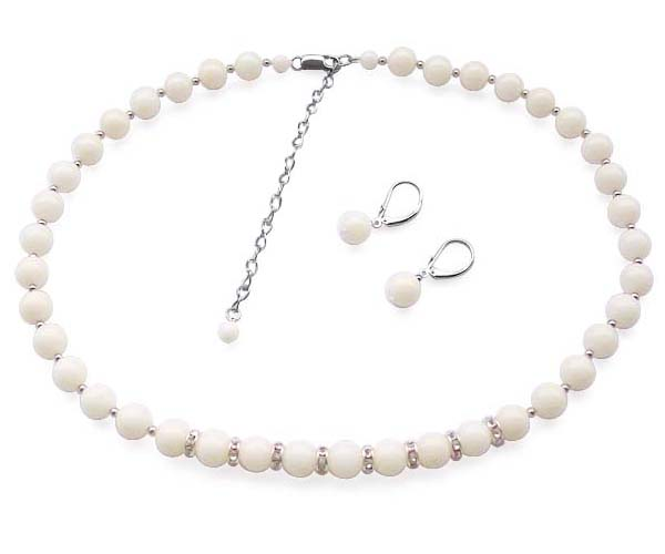 White 8-9mm Coral Necklace and Earrings Set in 925 SS