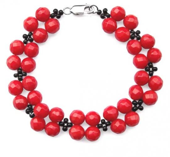 Red/Black Stylish Faceted Coral Bracelet, 925 SS