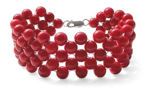 Red 5-Row Round Coral Bracelet, 925 SS