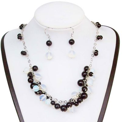 Black Onyx and Opal Necklace and Earring Set, 925 SS
