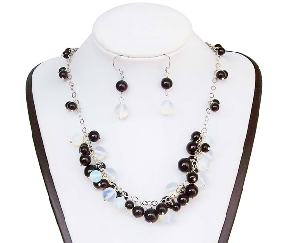 Black Onyx And Opal Necklace And Earring Set 925 Silver