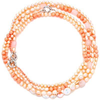 White Coral, Pink Crystal and Coin Pearl Necklace and earrings Set