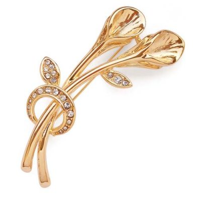 18K YG overlay Double Pearl Brooch Setting