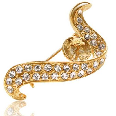 18K YG Arch Shaped Pearl Brooch Setting