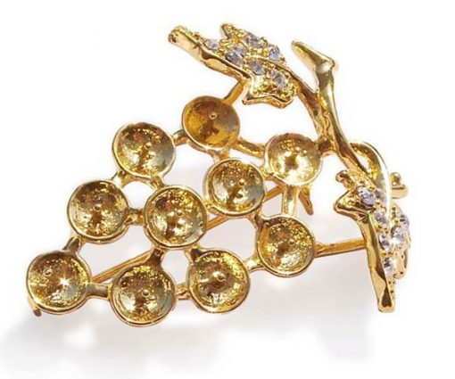 18K YG Grape Shaped Brooch Setting