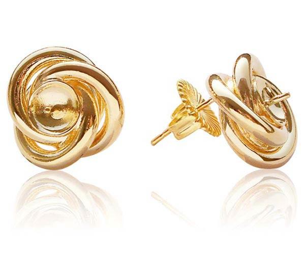 18K YG Overlay Earring Settings in Curve Design