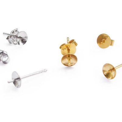 14K YG or WG Stud Earring Settings