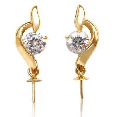 14K Solid YG Earrings Setting in Curve Design, w/ zirconium diamond