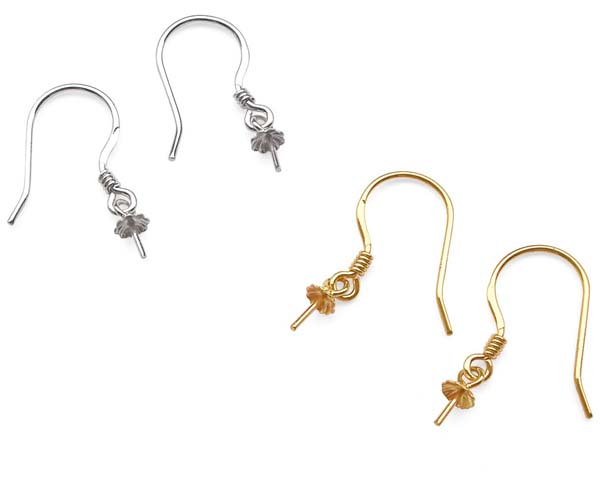 14K Solid YG and WG French Wire Earrings Setting