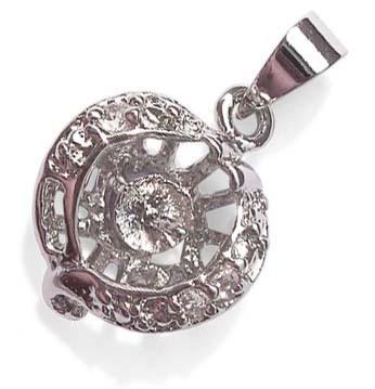 18K WG overlay Classical Pendant Setting with Cz Diamonds