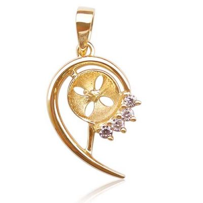 14K YG Pendant Setting with CZ Diamonds