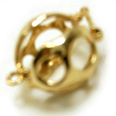 Round Shaped 14K Yellow Gold Pearl Cage