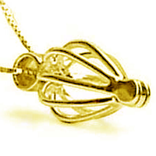 Heart Shaped Metal Cage with 18kyellow gold overlay