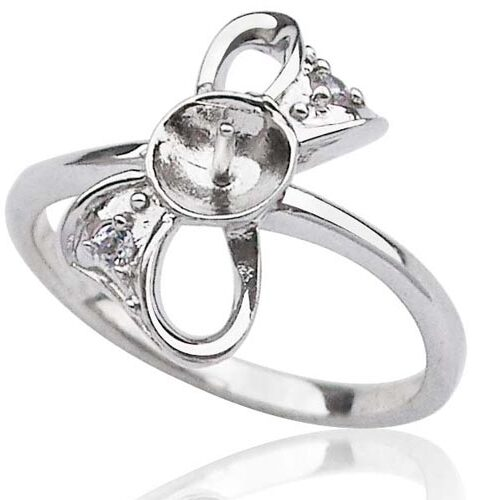 925 SS Bowknot Shaped Pearl Ring Setting