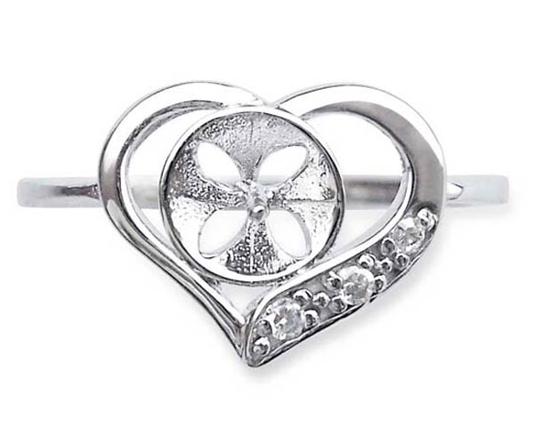 925 SS Heart Shaped Ring Setting