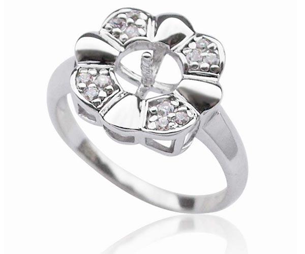 925 sterling silver flower ring setting. Black Bedroom Furniture Sets. Home Design Ideas