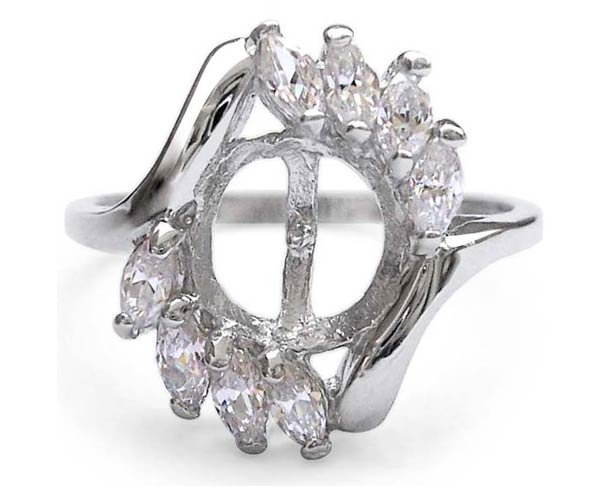 925 SS Ring Setting with 8 Cz Diamonds