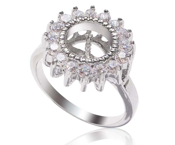 925 SS Ring Setting with 16 CZ Diamonds Surrounded