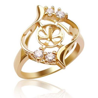 14K Solid YG Ring Setting in Curve Design
