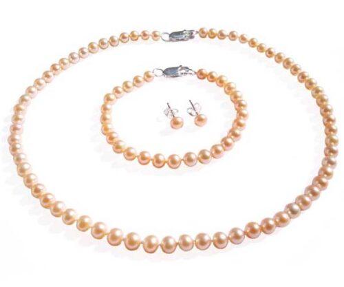 4-5mm Children Sized Pink Pearl Jewelry Set