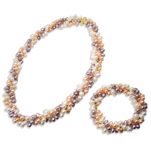 Multi Row Pearl Necklace: Multi-Color 3-row Pearl Necklace And Bracelet Set 14k