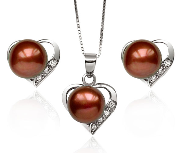 9.5-10mm AAA Genuine Chocolate Pearl Necklace and Earring Set