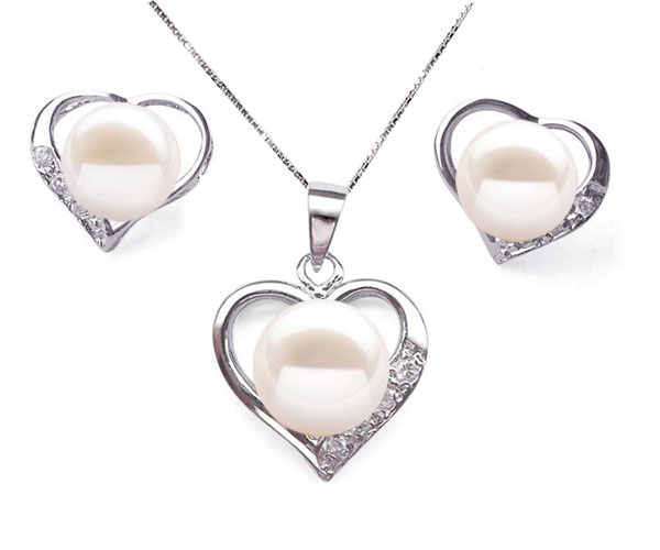 9.5-10mm AAA Genuine White Pearl Necklace and Earring Set
