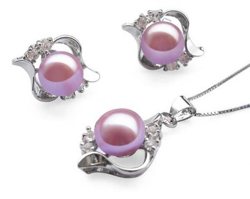 9-10mm Mauve Pearl Necklace and Earrings Set