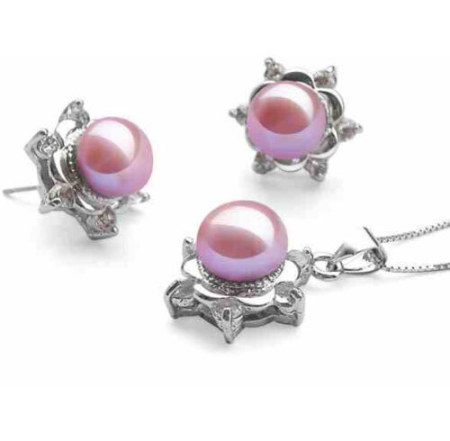 mauve pearl necklace and earrings set