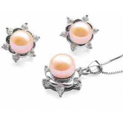 Pink Pearl Necklace and earrings set