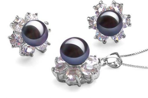 9-10mm Black Pearl Necklace and Earrings Set