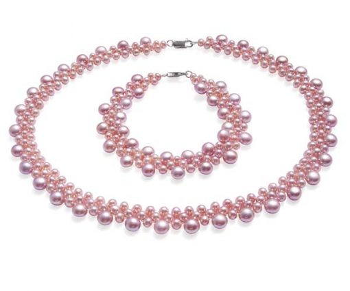 All Mauve Pearl Necklace and Bracelet Set