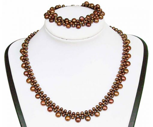 All Chocolate Pearl Necklace and Bracelet Set