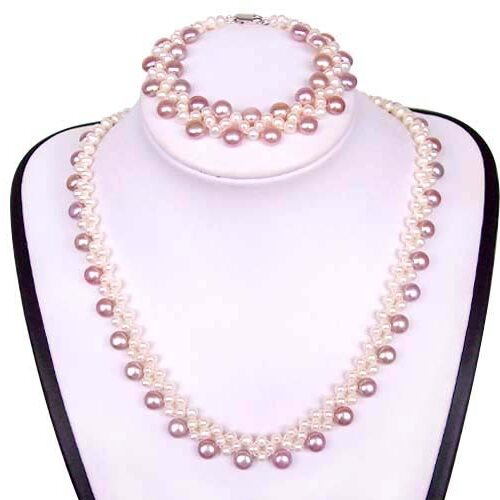White and Mauve Pearl Necklace and Bracelet Set