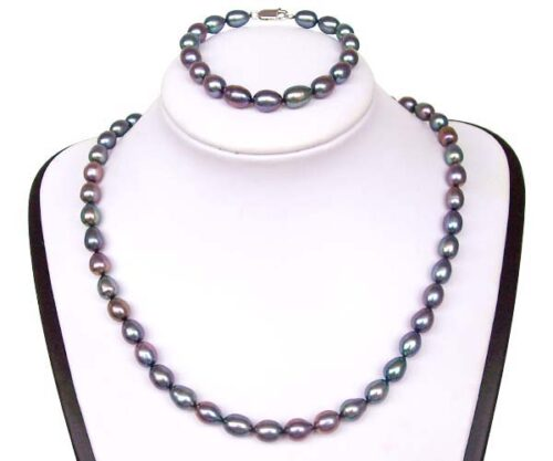 7-8mm AA+ High Quality Black Pearl Necklace and Bracelet Set