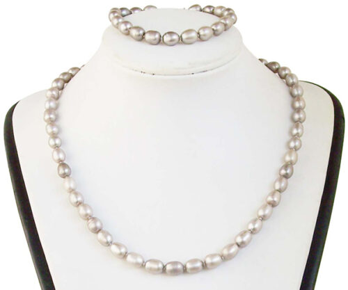 7-8mm AA+ High Quality Grey Pearl Necklace and Bracelet Set