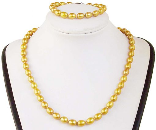 7-8mm AA+ High Quality Pearl Necklace and Bracelet Set
