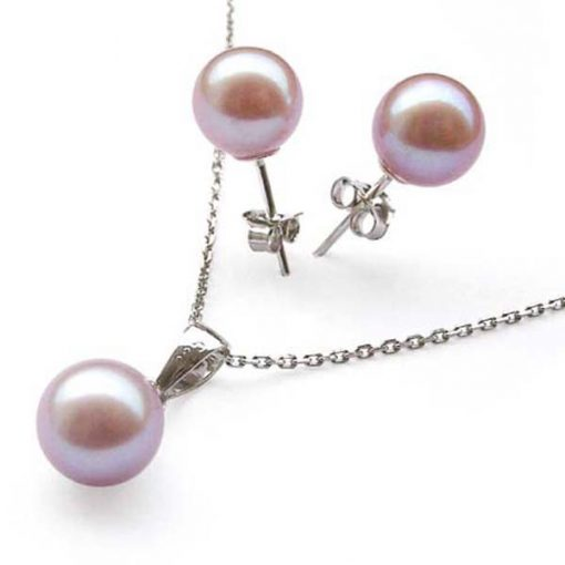 7-7.5mm AAA Mauve Pearl Necklace and Earring Set