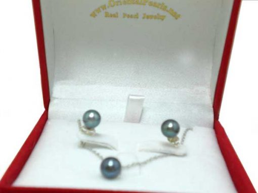 7-7.5mm AAA Black Pearl Necklace and Earring Set