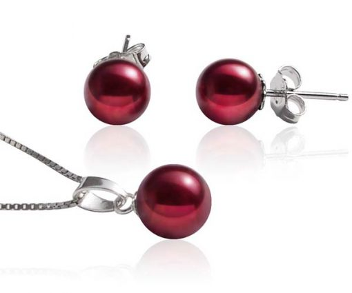 7-7.5mm AAA Cranberry Pearl Necklace and Earring Set