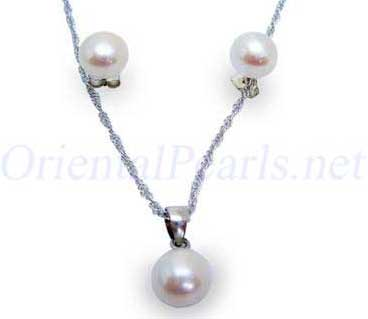 7-7.5mm AAA White Pearl Necklace and Earring Set