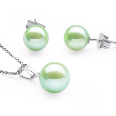 7-7.5mm AAA Light Green Pearl Necklace and Earring Set